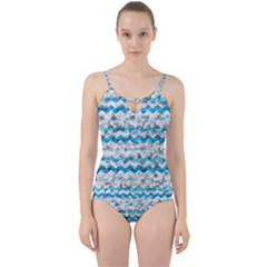 Baby Blue Chevron Grunge Cut Out Top Tankini Set