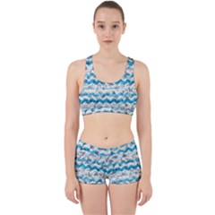 Baby Blue Chevron Grunge Work It Out Sports Bra Set