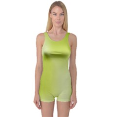 Green Soft Springtime Gradient One Piece Boyleg Swimsuit