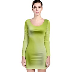 Green Soft Springtime Gradient Long Sleeve Bodycon Dress