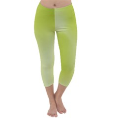Green Soft Springtime Gradient Capri Winter Leggings