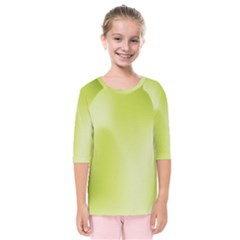 Green Soft Springtime Gradient Kids  Quarter Sleeve Raglan Tee