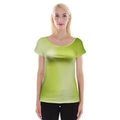 Green Soft Springtime Gradient Cap Sleeve Tops