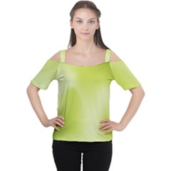 Green Soft Springtime Gradient Cutout Shoulder Tee