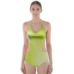 Green Soft Springtime Gradient Cut Out One Piece Swimsuit
