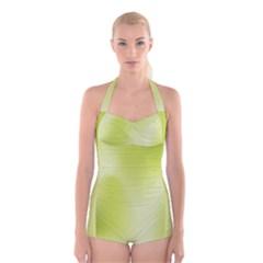 Green Soft Springtime Gradient Boyleg Halter Swimsuit