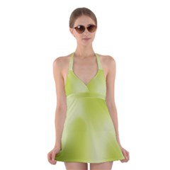 Green Soft Springtime Gradient Halter Swimsuit Dress