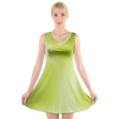 Green Soft Springtime Gradient V-Neck Sleeveless Skater Dress