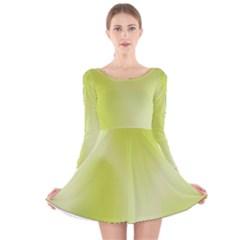 Green Soft Springtime Gradient Long Sleeve Velvet Skater Dress
