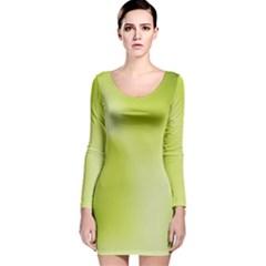 Green Soft Springtime Gradient Long Sleeve Velvet Bodycon Dress