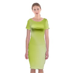 Green Soft Springtime Gradient Classic Short Sleeve Midi Dress