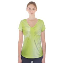 Green Soft Springtime Gradient Short Sleeve Front Detail Top by designworld65