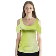 Green Soft Springtime Gradient Butterfly Sleeve Cutout Tee