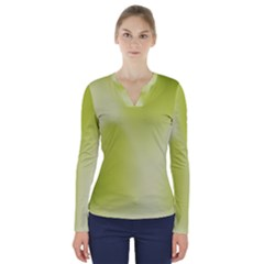 Green Soft Springtime Gradient V Neck Long Sleeve Top by designworld65