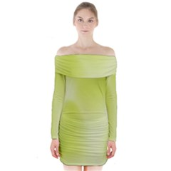 Green Soft Springtime Gradient Long Sleeve Off Shoulder Dress