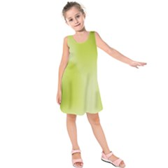 Green Soft Springtime Gradient Kids  Sleeveless Dress