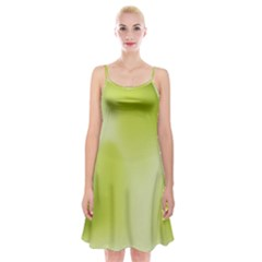 Green Soft Springtime Gradient Spaghetti Strap Velvet Dress