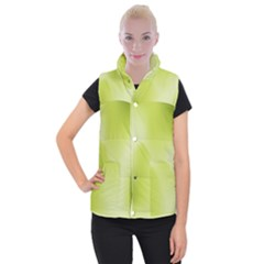 Green Soft Springtime Gradient Women s Button Up Puffer Vest