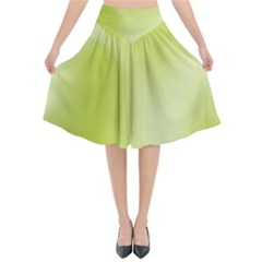 Green Soft Springtime Gradient Flared Midi Skirt