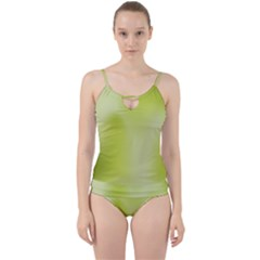 Green Soft Springtime Gradient Cut Out Top Tankini Set