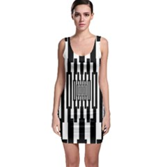 Black Stripes Endless Window Bodycon Dress