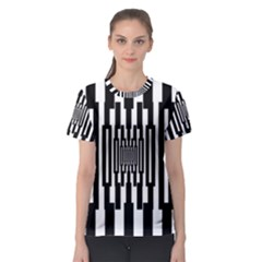 Black Stripes Endless Window Women s Sport Mesh Tee