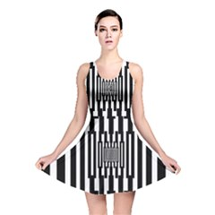Black Stripes Endless Window Reversible Skater Dress