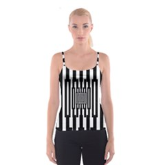 Black Stripes Endless Window Spaghetti Strap Top by designworld65