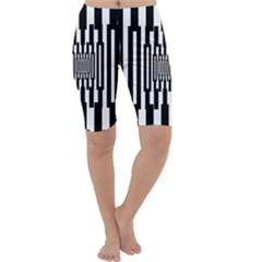 Black Stripes Endless Window Cropped Leggings