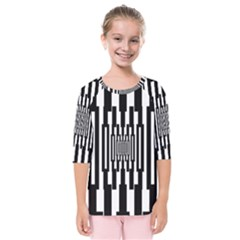 Black Stripes Endless Window Kids  Quarter Sleeve Raglan Tee