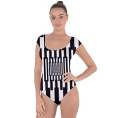 Black Stripes Endless Window Short Sleeve Leotard