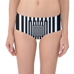 Black Stripes Endless Window Mid Waist Bikini Bottoms