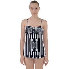 Black Stripes Endless Window Babydoll Tankini Set
