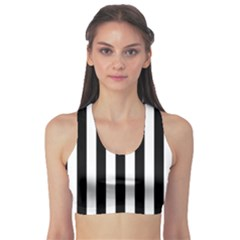 Black And White Stripes Sports Bra