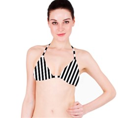Black And White Stripes Bikini Top