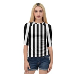Black And White Stripes Quarter Sleeve Raglan Tee