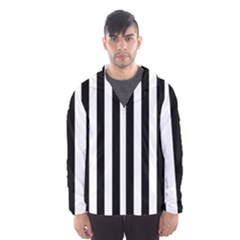 Black And White Stripes Hooded Wind Breaker (men)