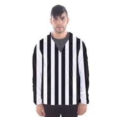 Black And White Stripes Hooded Wind Breaker (men) by designworld65