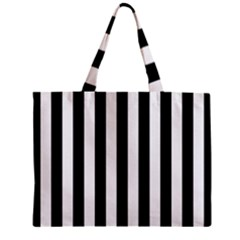 Black And White Stripes Zipper Mini Tote Bag