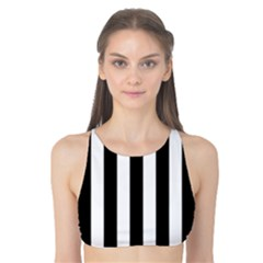 Black And White Stripes Tank Bikini Top
