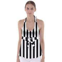 Black And White Stripes Babydoll Tankini Top by designworld65