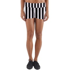 Black And White Stripes Yoga Shorts