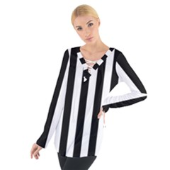 Black And White Stripes Tie Up Tee