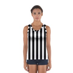 Black And White Stripes Sport Tank Top
