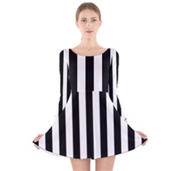 Black And White Stripes Long Sleeve Velvet Skater Dress