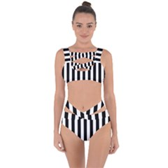 Black And White Stripes Bandaged Up Bikini Set