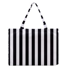 Black And White Stripes Zipper Medium Tote Bag
