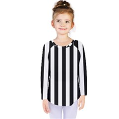 Black And White Stripes Kids  Long Sleeve Tee