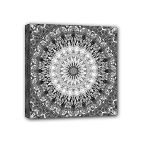 Feeling Softly Black White Mandala Mini Canvas 4  X 4  by designworld65