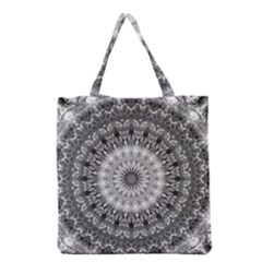 Feeling Softly Black White Mandala Grocery Tote Bag by designworld65